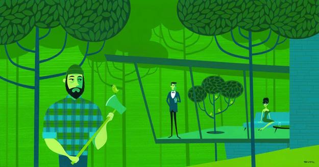 Tree Feller by Josh Agle
