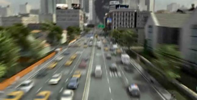 Crash zoom into city