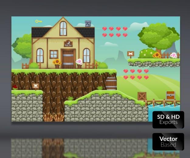 Royalty Free 2D Game Art Tileable Platform Hotel
