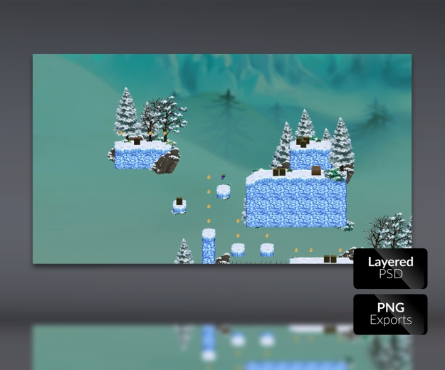 Snowy Mountains Platform Tile Set Game Art